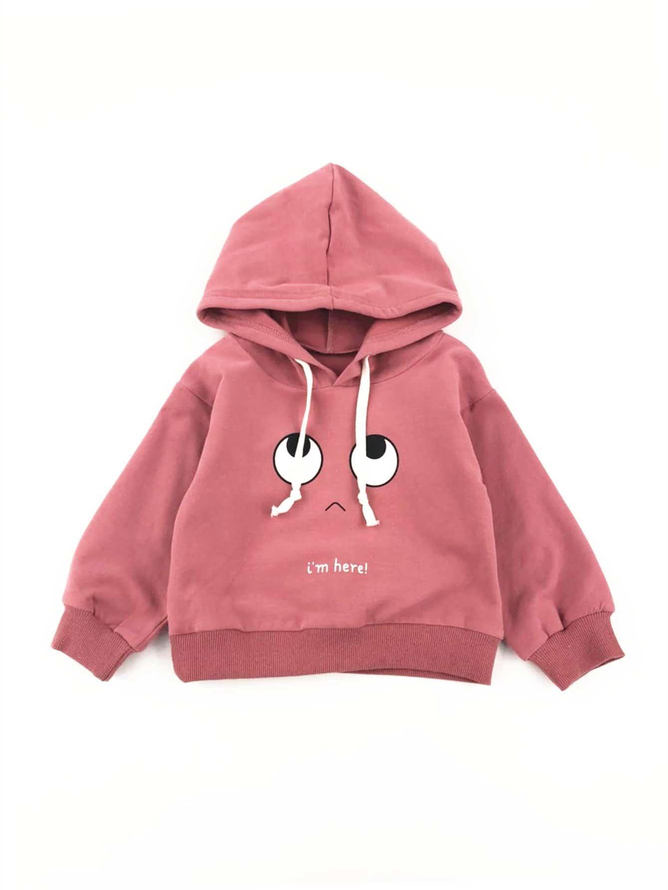 Girls Cartoon Print Hooded Sweatshirt