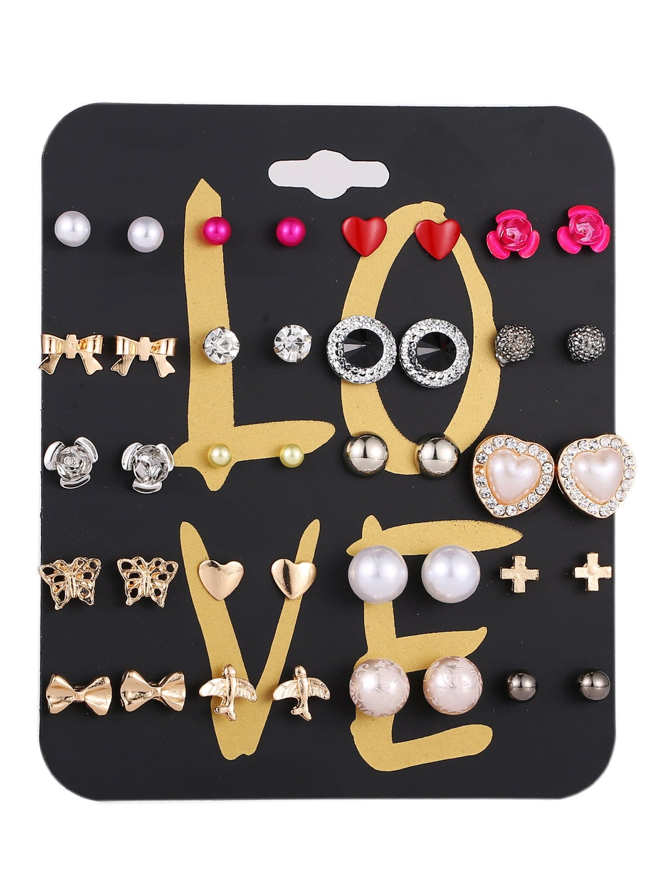Multishaped Stud Earrings 20pairs