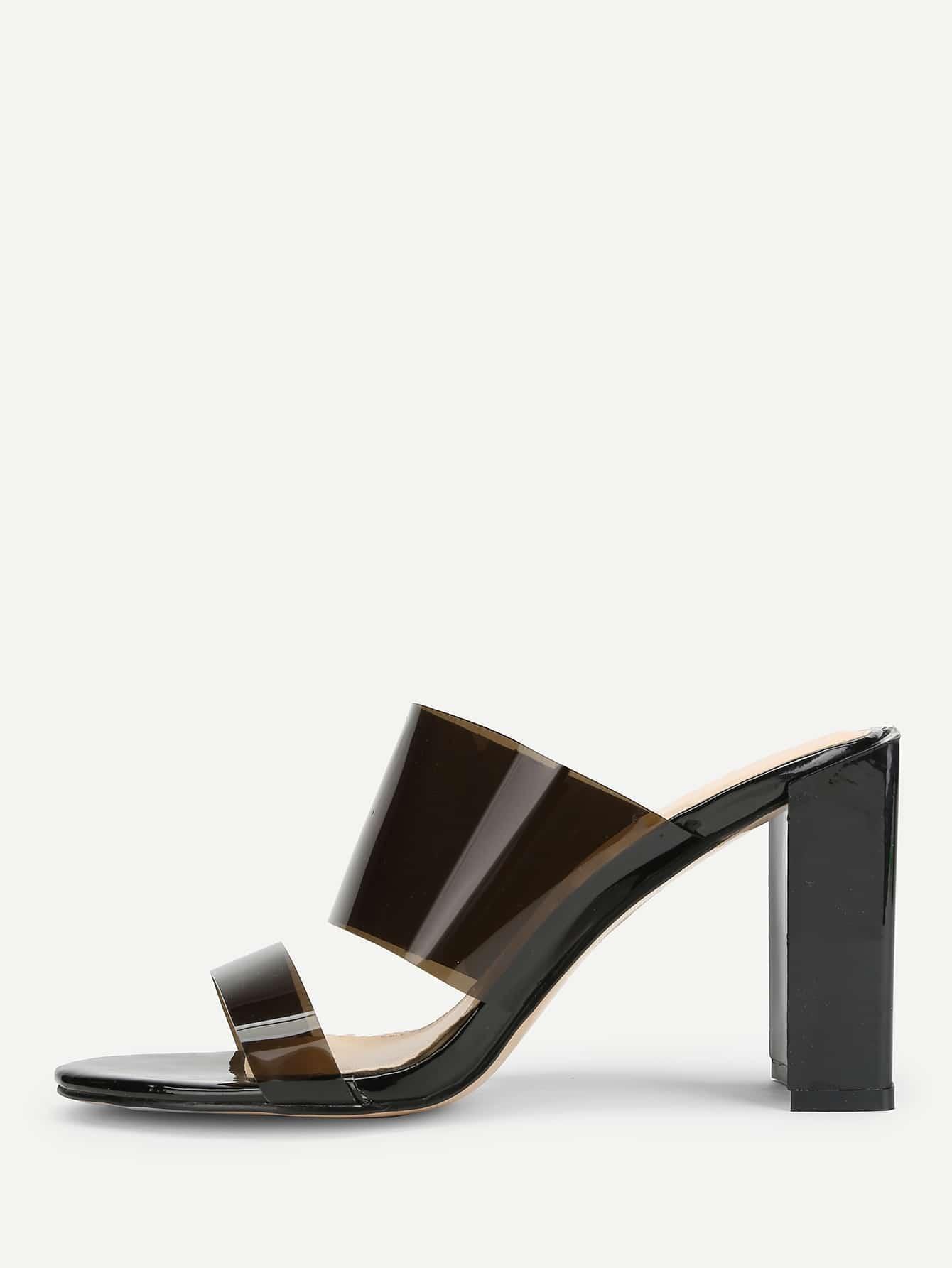 Купить PVC туфли на высоких каблуках с шнурками, null, SheIn