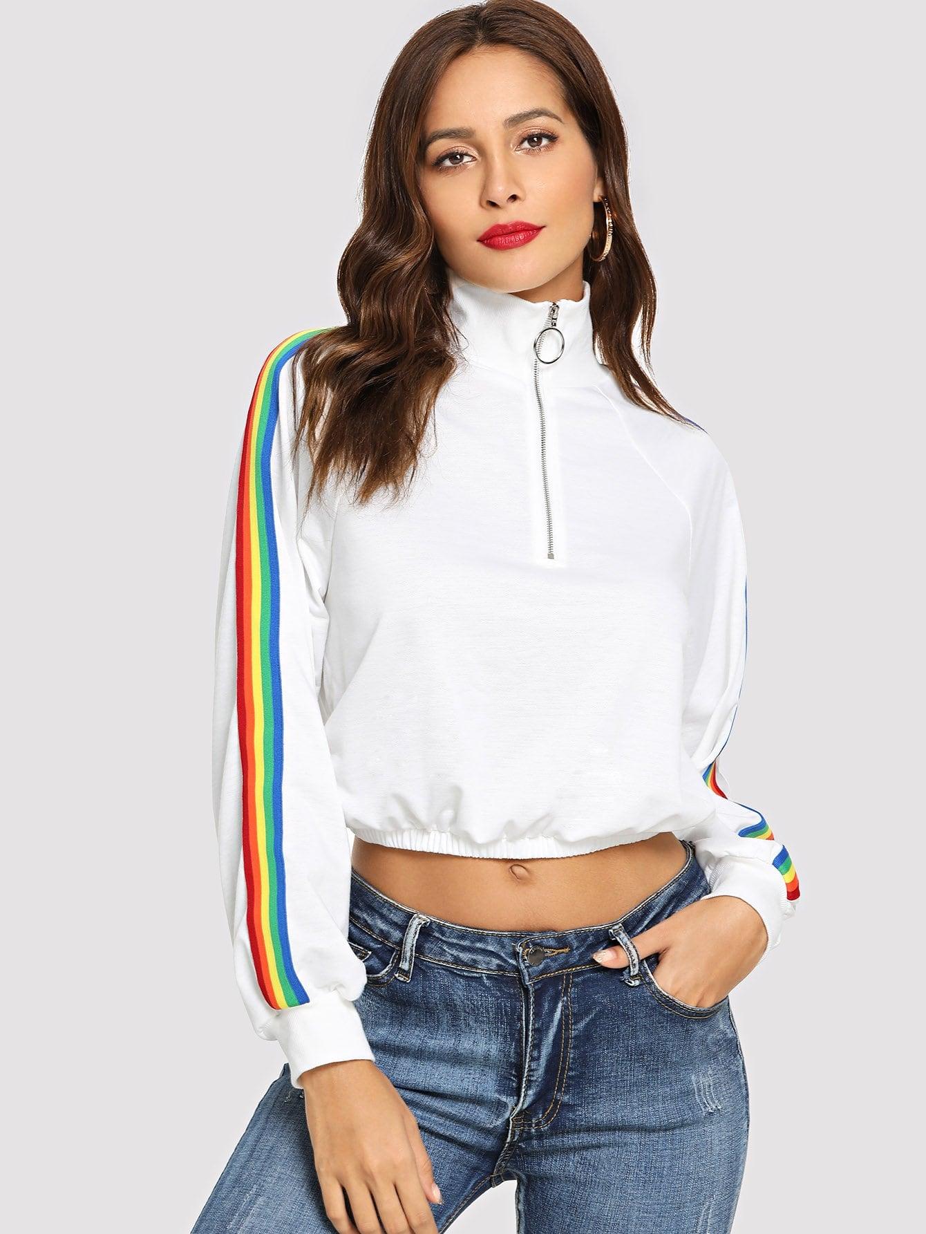 O-Ring Zip Front Цветная полосатая боковая куртка