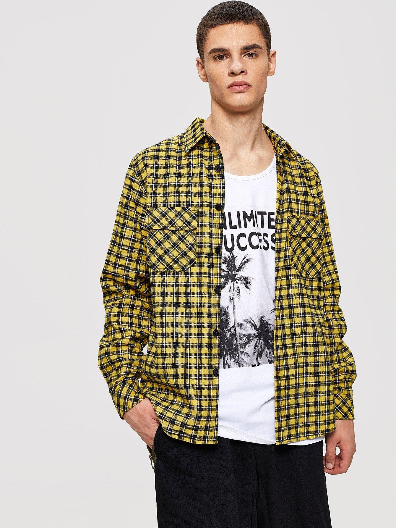 Купить Мужская карманная рубашка с плакированной рубашкой, Bono, SheIn