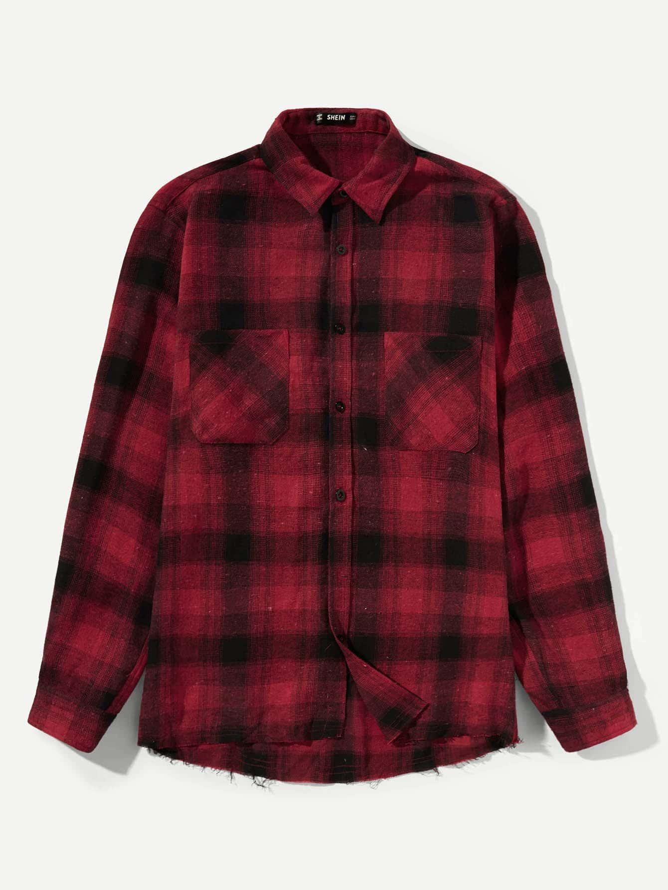 Купить Мужская карманная рубашка с плакированной рубашкой, null, SheIn