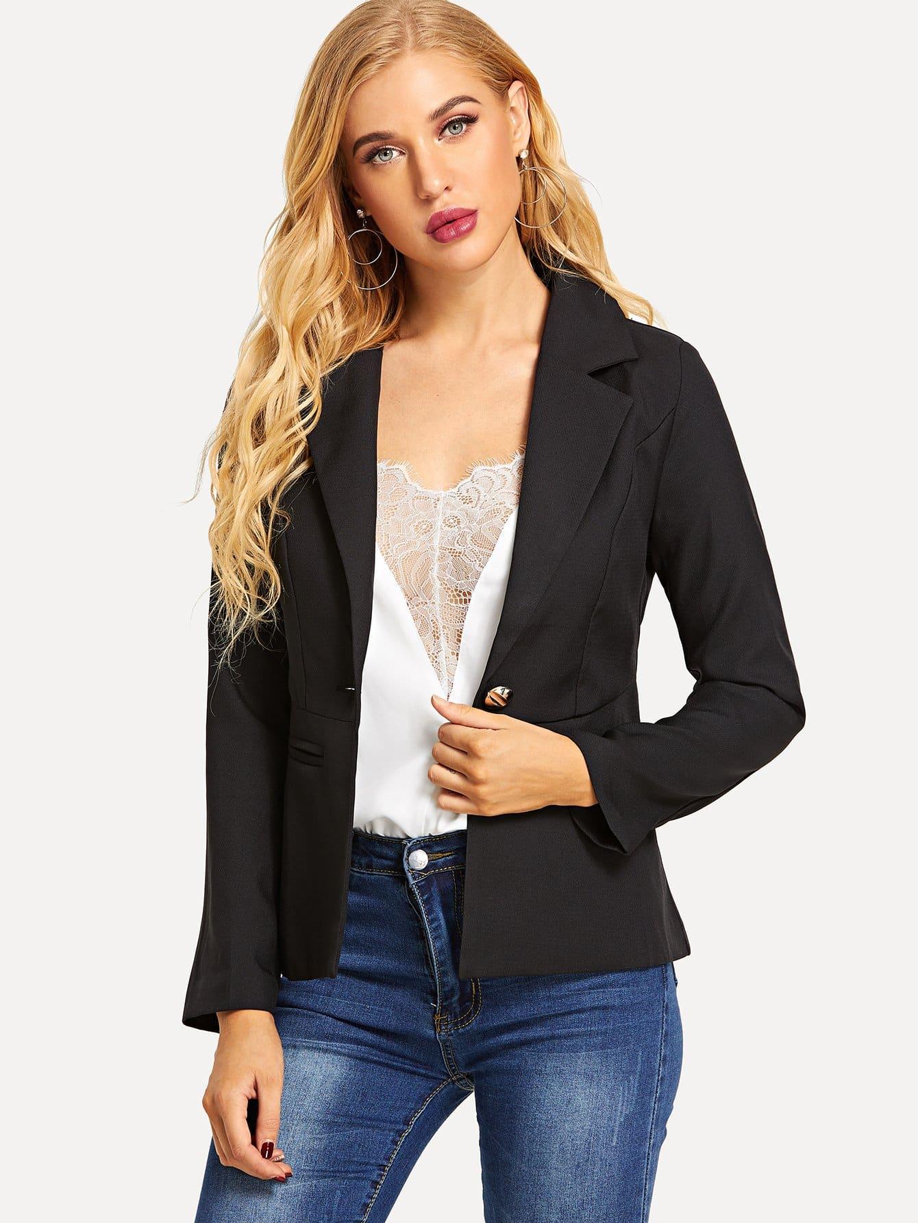 Купить Пиджак с украшением пуговицы и кармана перед одежды, SUSU, SheIn