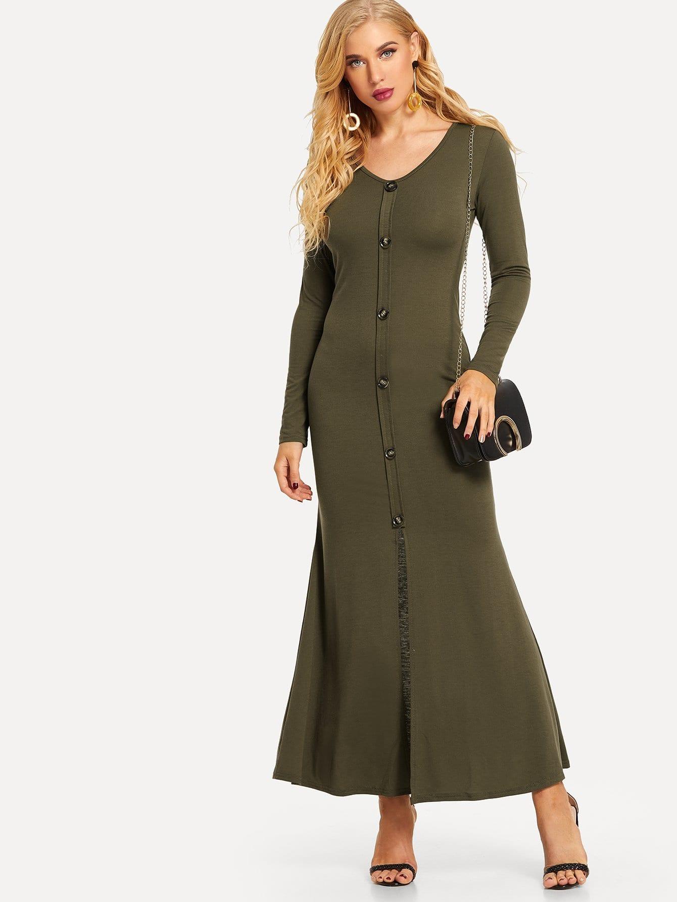 Купить Простое длинное платье с украшением пуговицы перед одеждвы, SUSU, SheIn