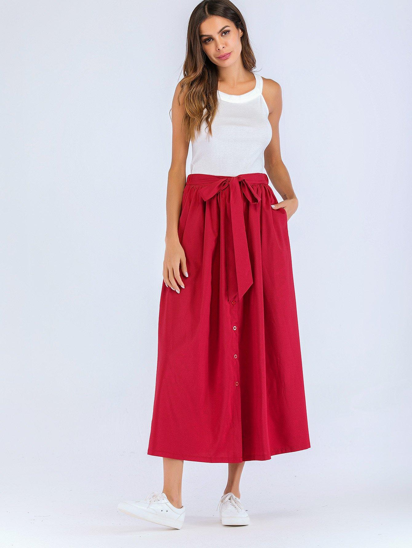 Купить Простая юбка с поясом и с украшением пуговицы перед, null, SheIn
