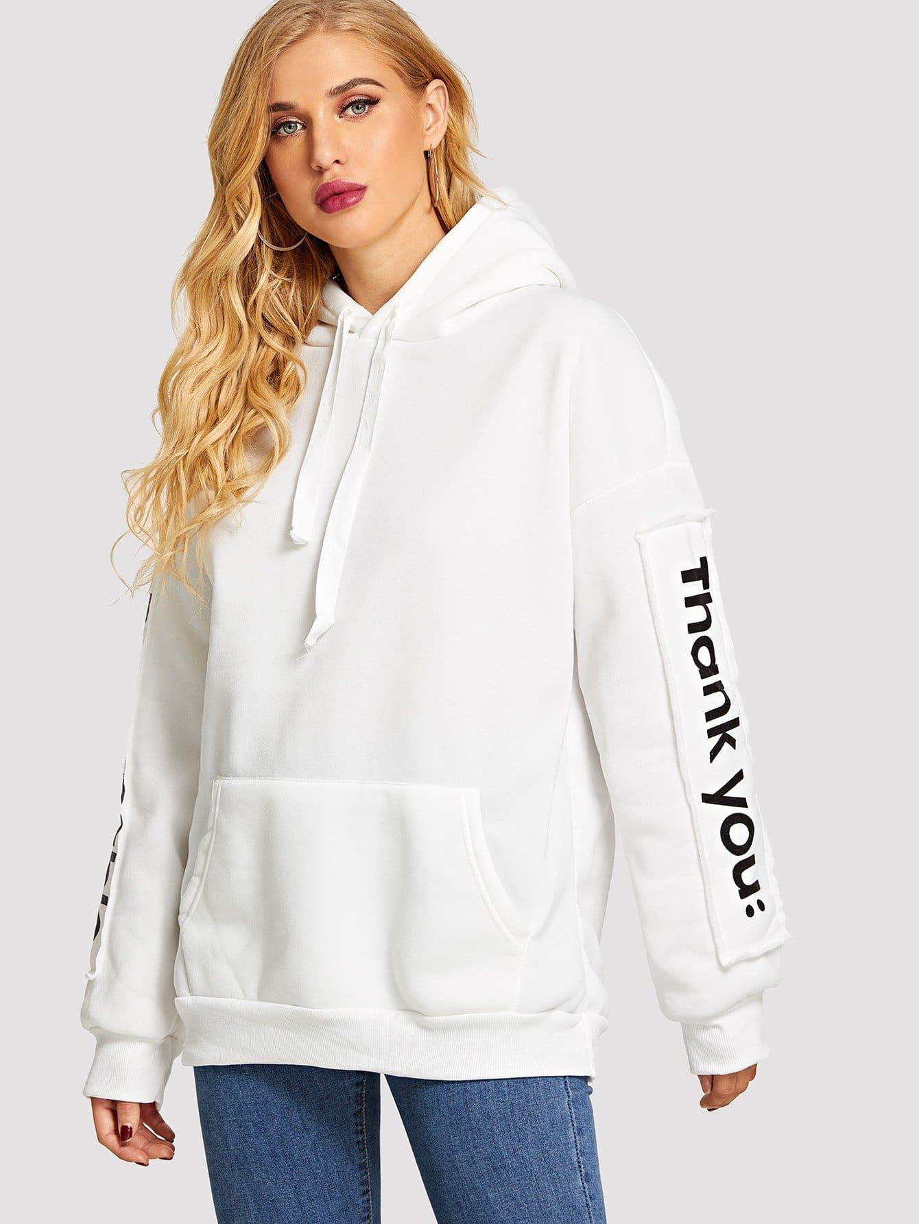 Купить Пуловер с капюшоном и с рисунками буквы, SUSU, SheIn