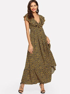 Plunging Neck Leopard Print Ruffle Maxi Dress