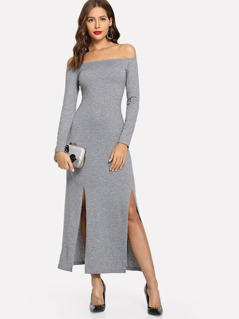 Off Shoulder Slit Hem Heathered Knit Dress