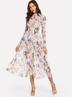 Mock Neck Semi Sheer Midi Floral Dress