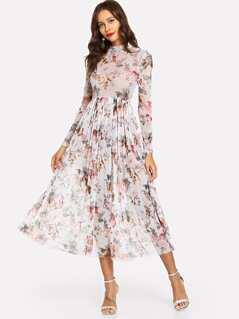 Mock Neck Semi Sheer Pleated Floral Dress