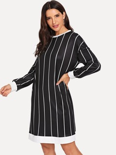 Drop Shoulder Striped Tunic Dress