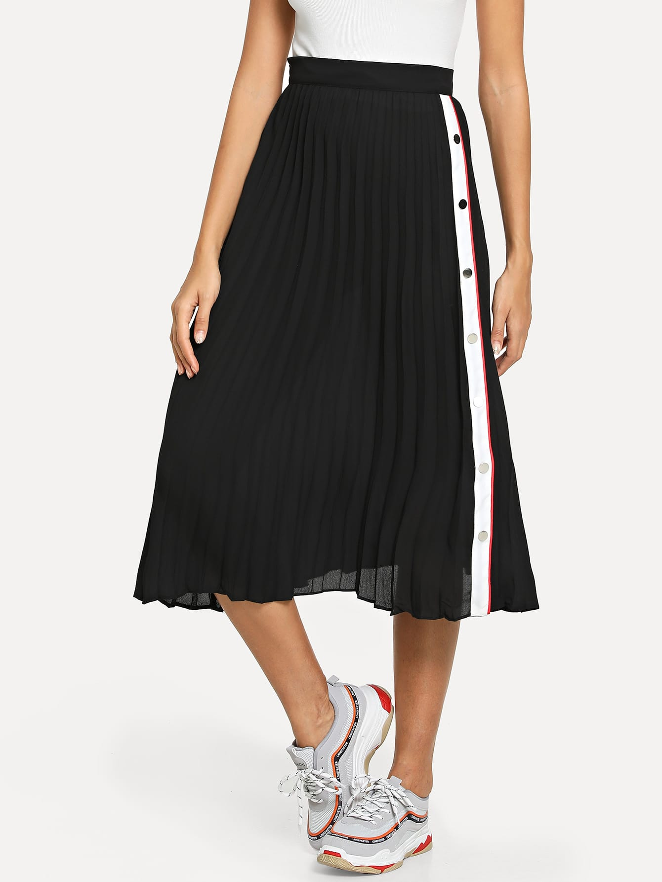 Купить Контрастная юбка со складками в пуговицу сбоку, Giulia, SheIn