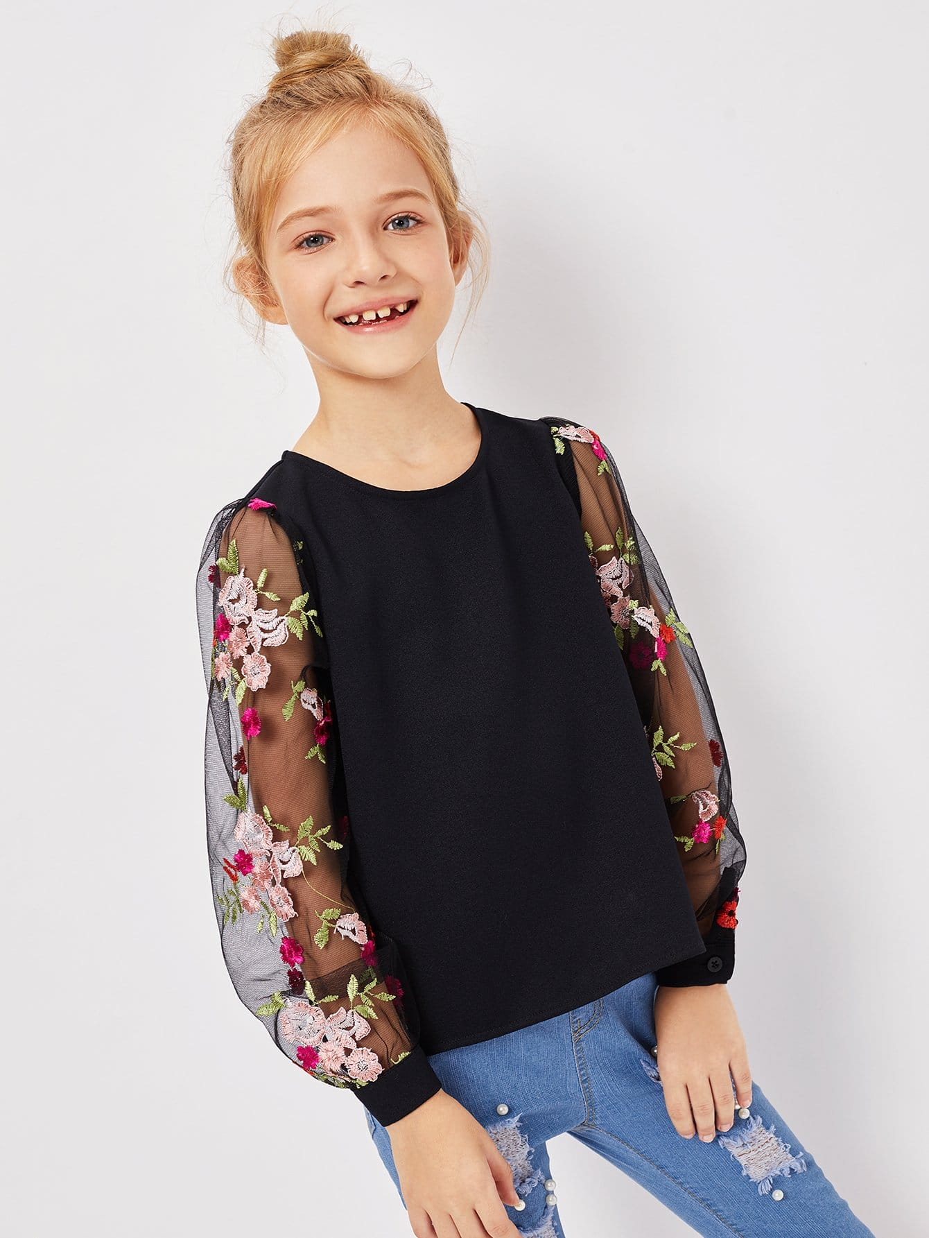 Girls Mesh Floral Embroidered Keyhole Back Top girls keyhole back floral embroidered mesh top