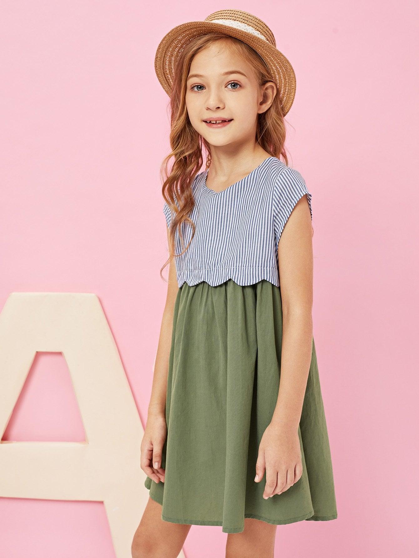 Купить Девочка с замочной скважиной и вышитым полосатым платьем, Kassia, SheIn