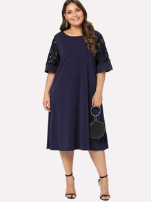 Plus Mesh Panel Sleeve Dress