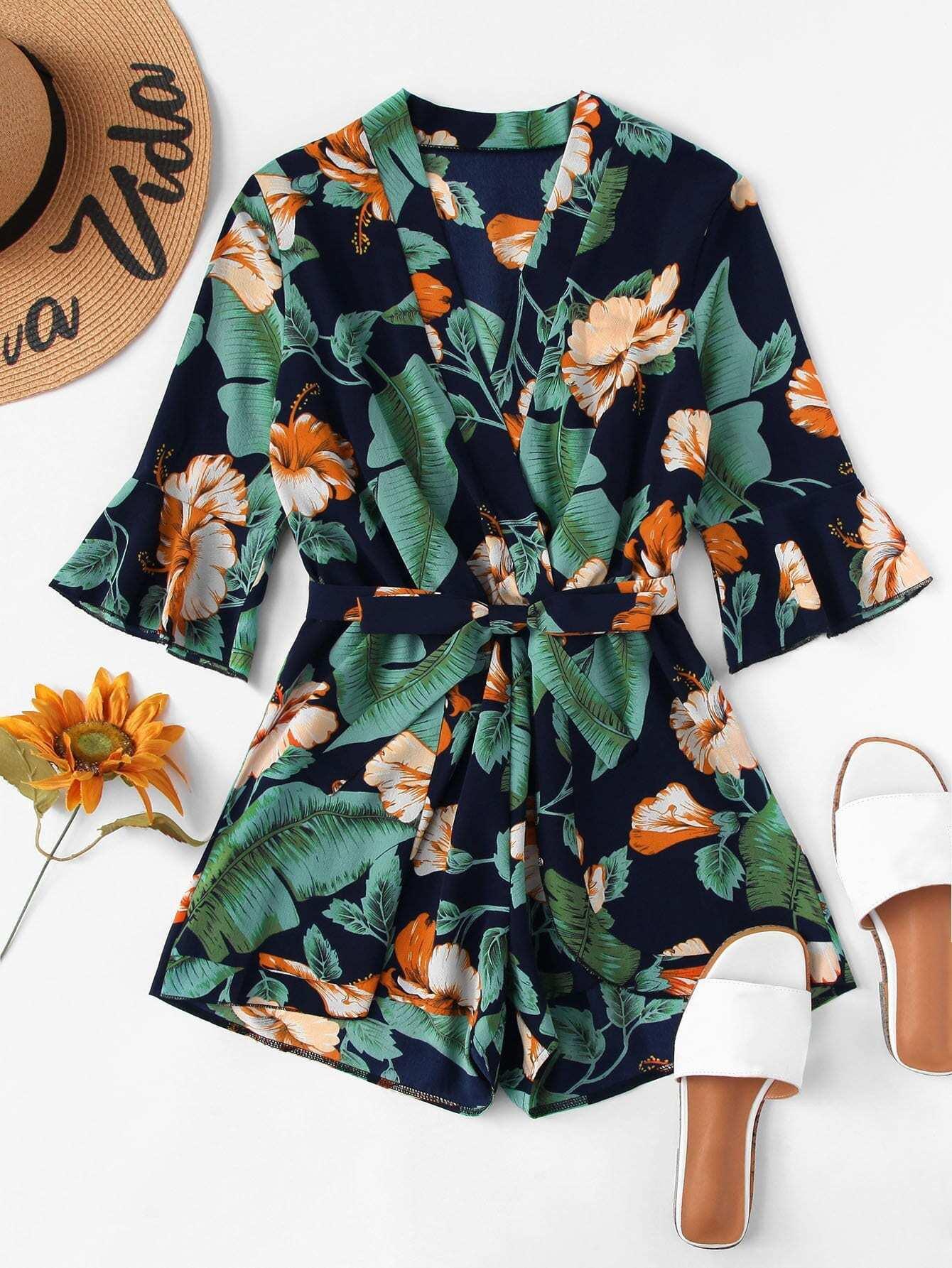 Отпускнойстиль Со цветочками с поясом Многоцветный Комбинезон