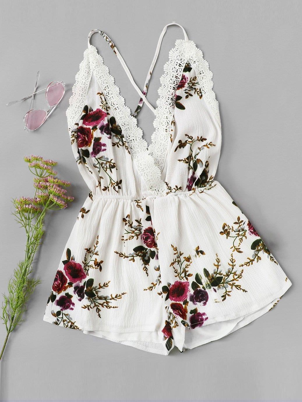 Купить Отпускнойстиль Со цветочками крест на крест Белый Комбинезон, null, SheIn
