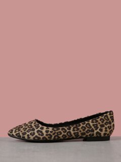 Wide Fit Faux Suede Cheetah Print Flats