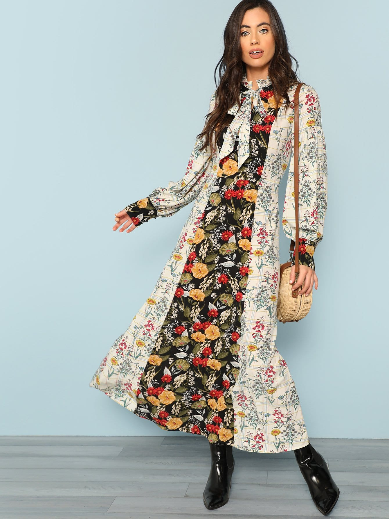Mock Neck Lantern Sleeve Cut and Sew Floral Dress plus mock neck lantern sleeve smock floral top