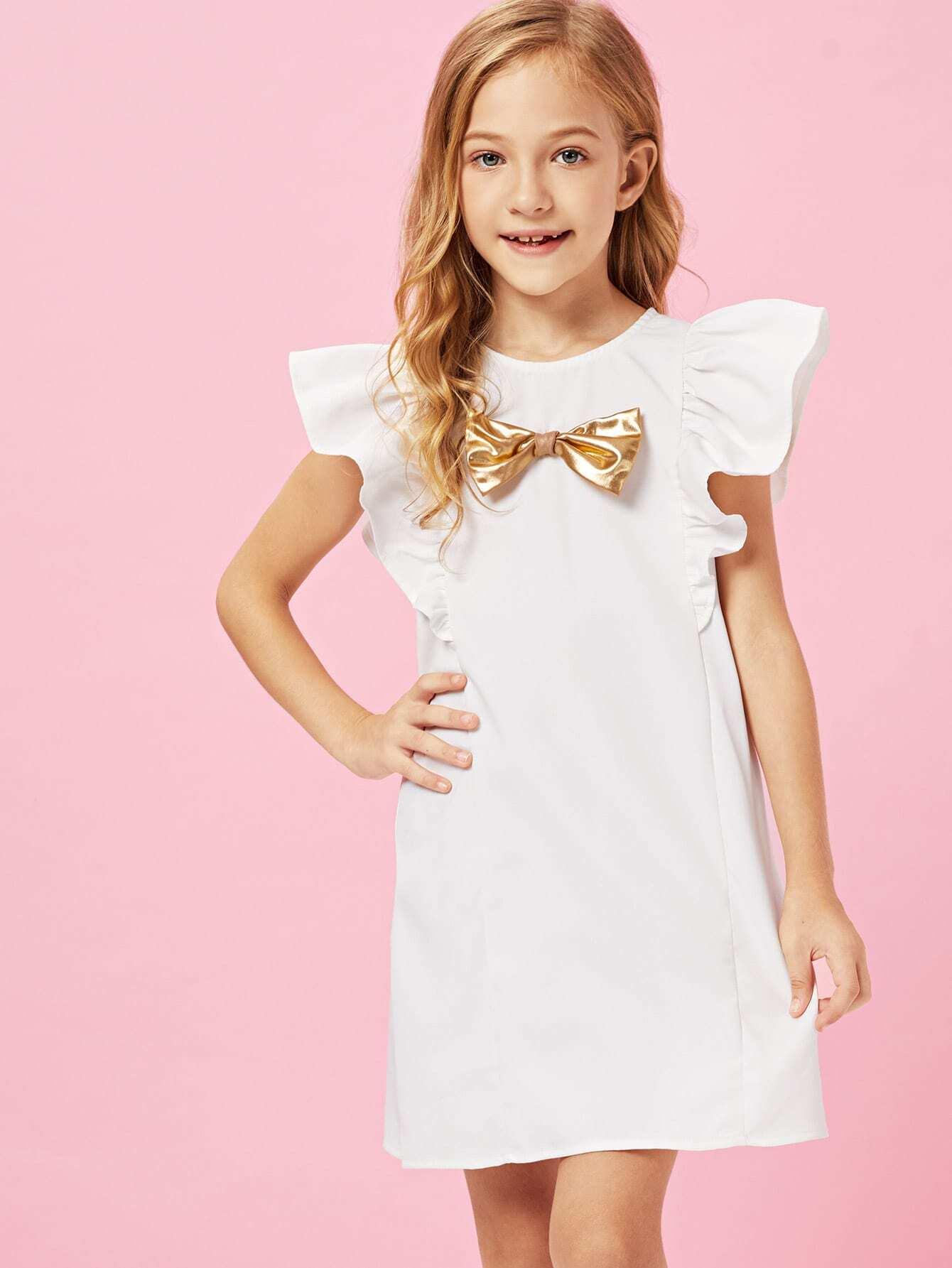 Купить Платье для аксессуаров для девочек Ruffle Armhole Bow, Kassia, SheIn