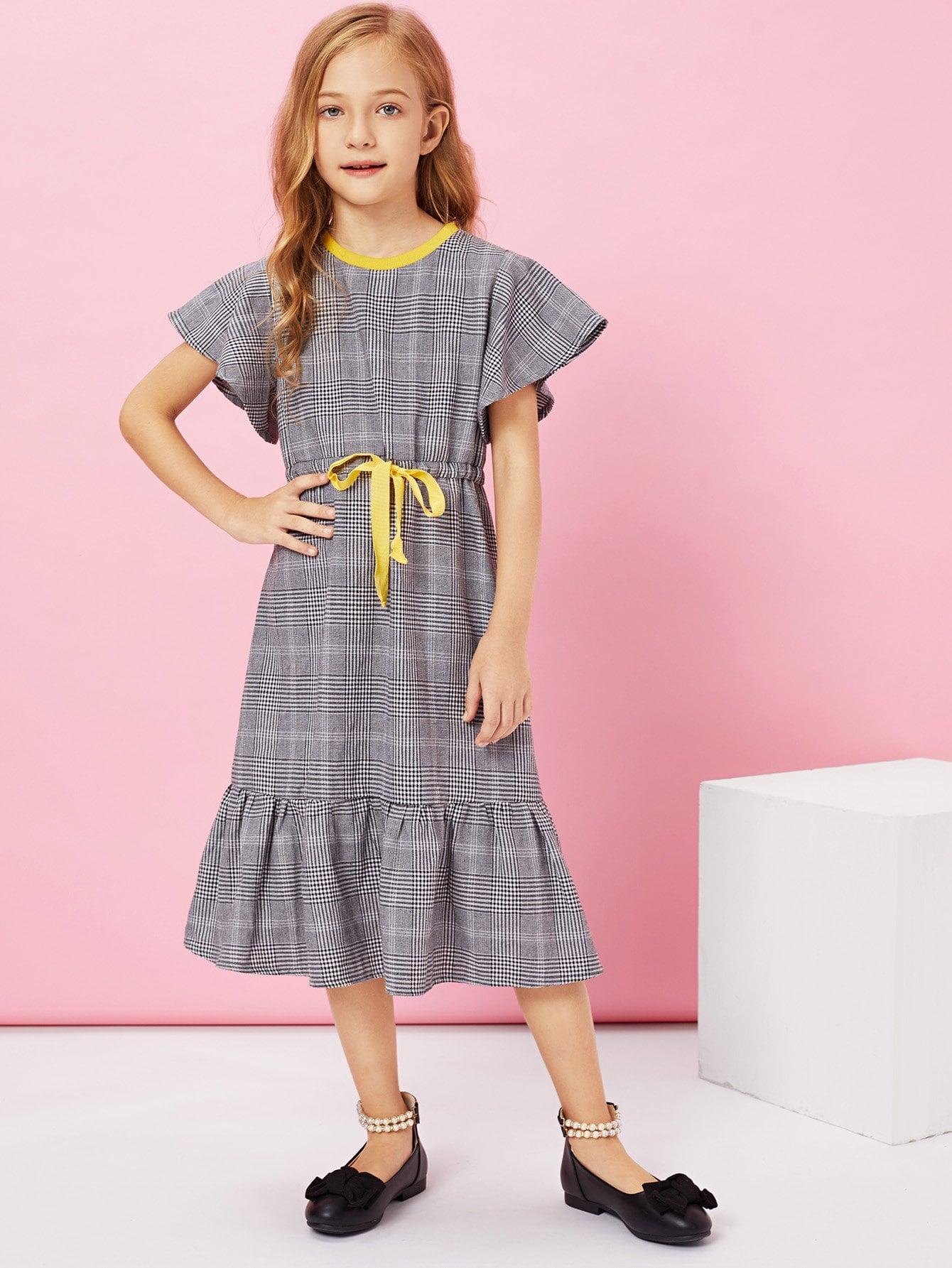Купить Платье для талии для девочек Ruffle Hem Drawstring, Kassia, SheIn