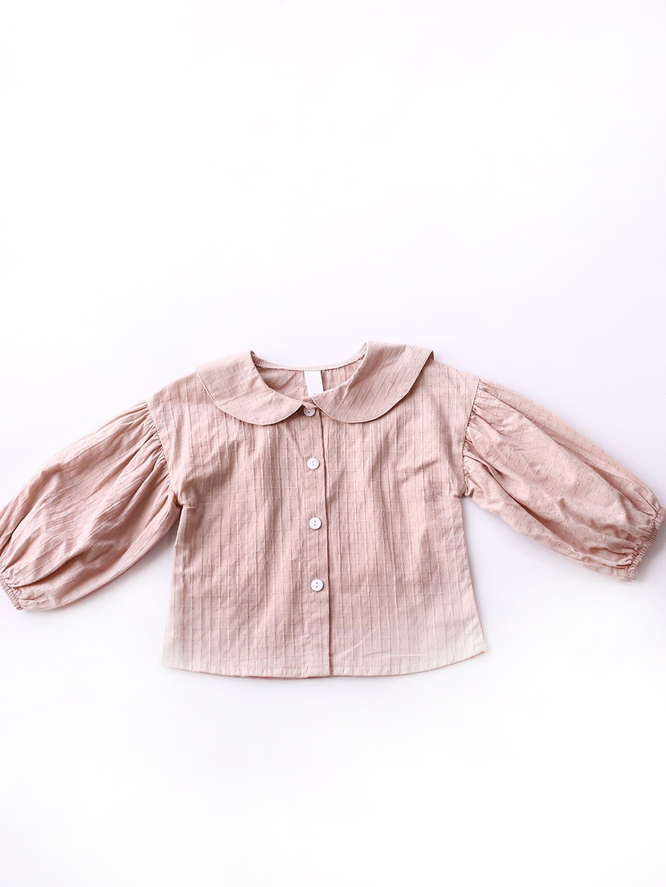 Купить Простая рубашка с украшением пуговицы для девочки, null, SheIn