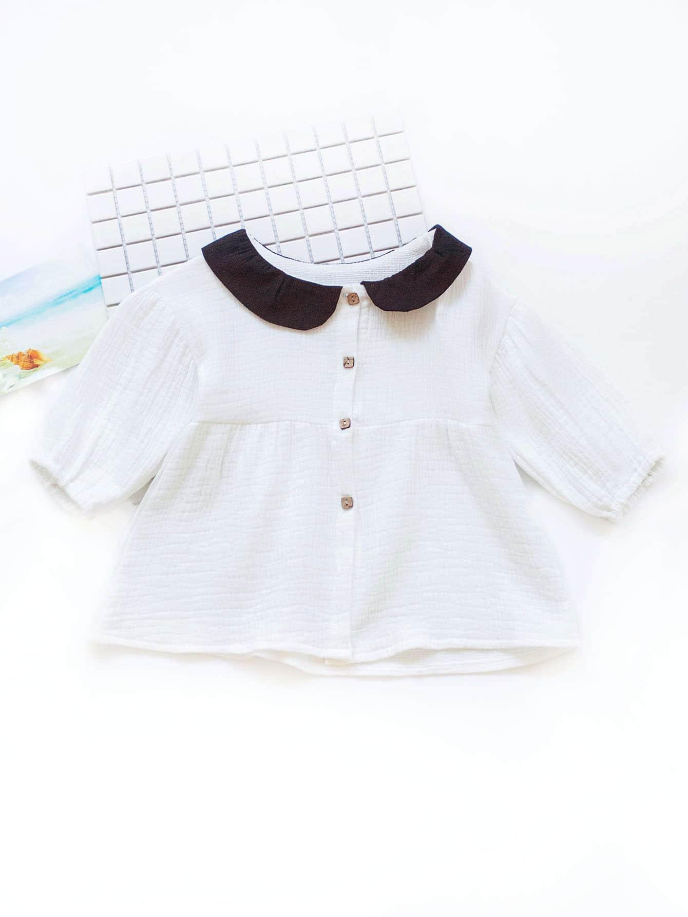 Купить Рубашка с украшением пуговицы для девочки, null, SheIn