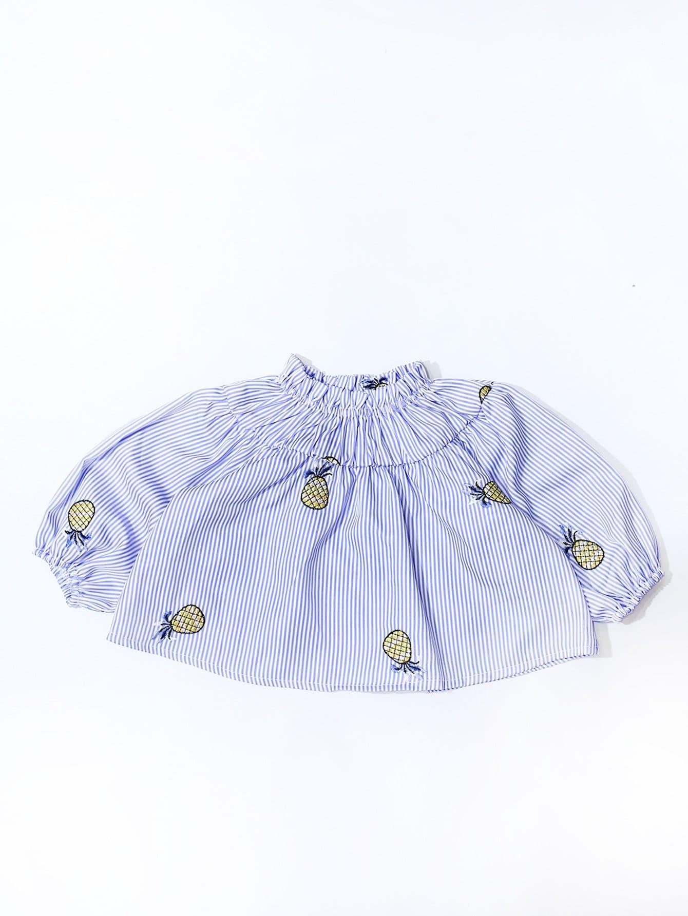 Mädchen Bluse mit Ananas Stickereien und Streifen