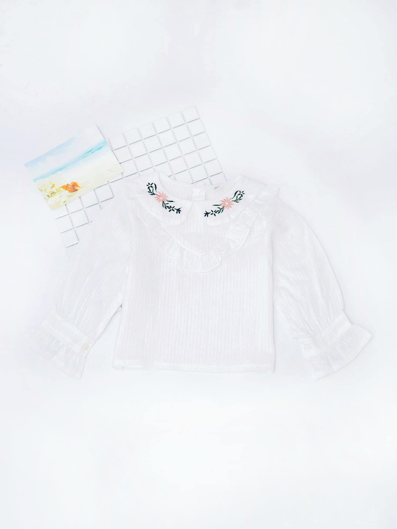 Girls Embroidery Detail Frill Trim Blouse