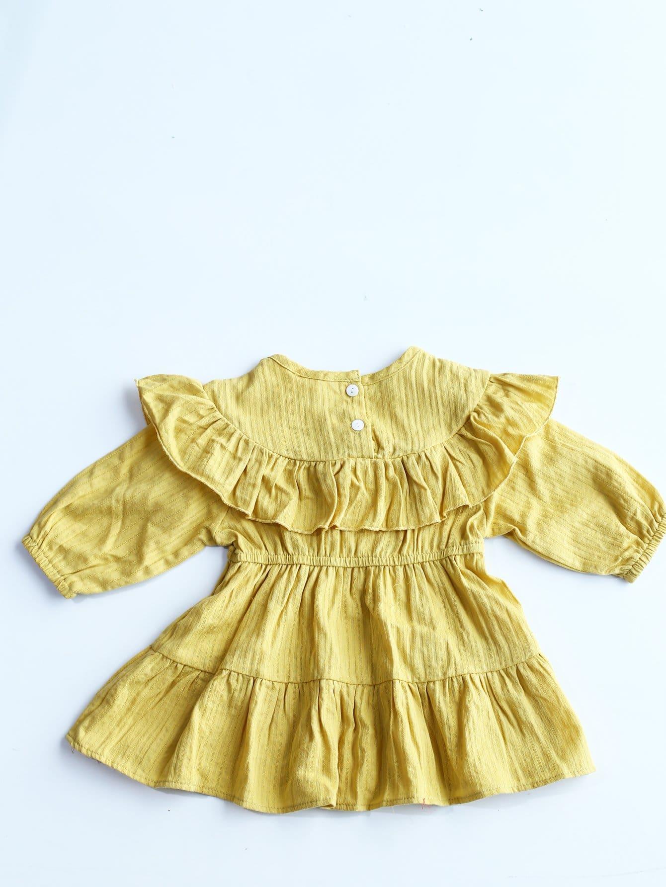 Girls Ruffle Hem Solid Dress