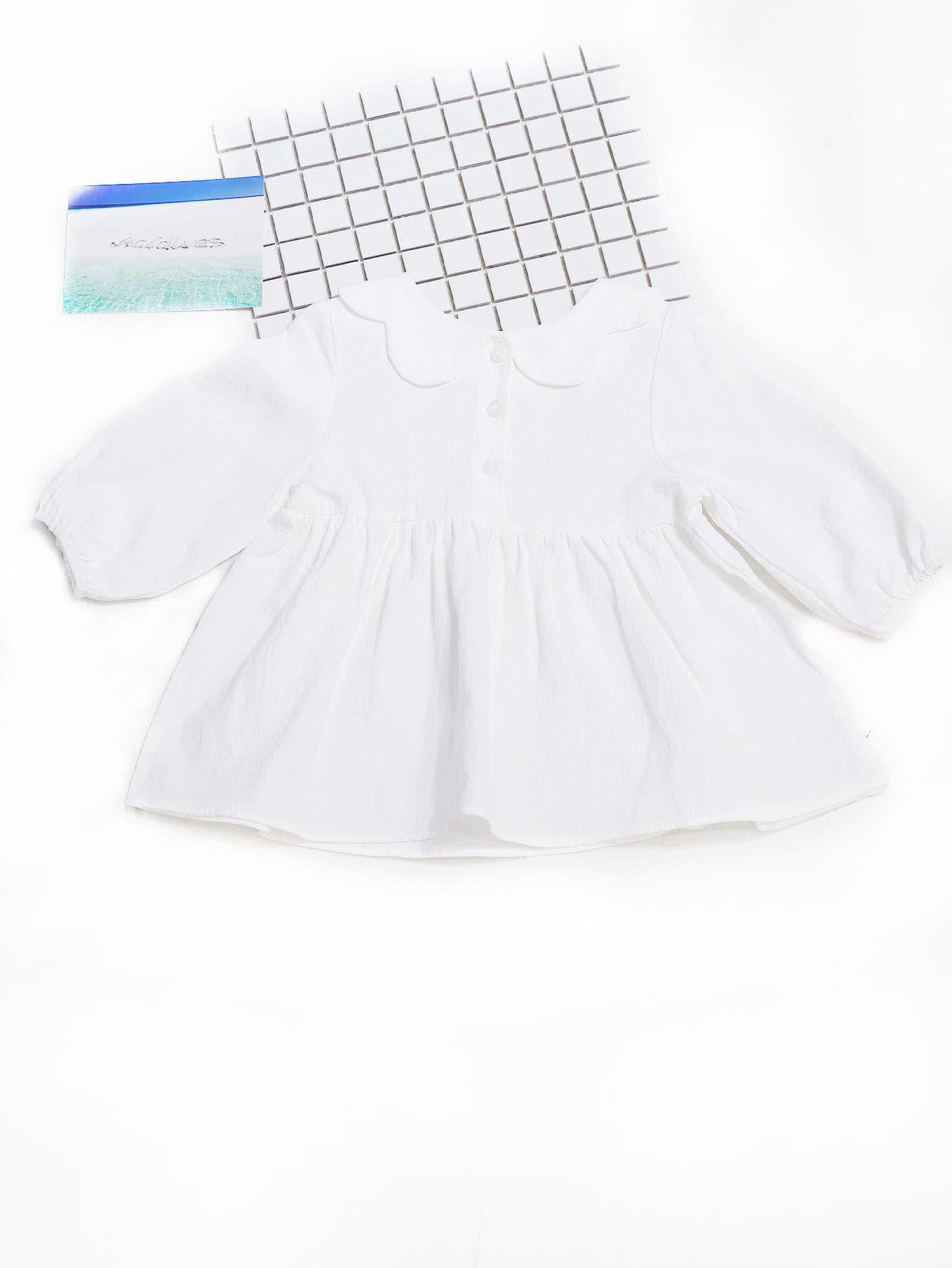 Купить Простое платье и с украшением пуговицы для девочки, null, SheIn