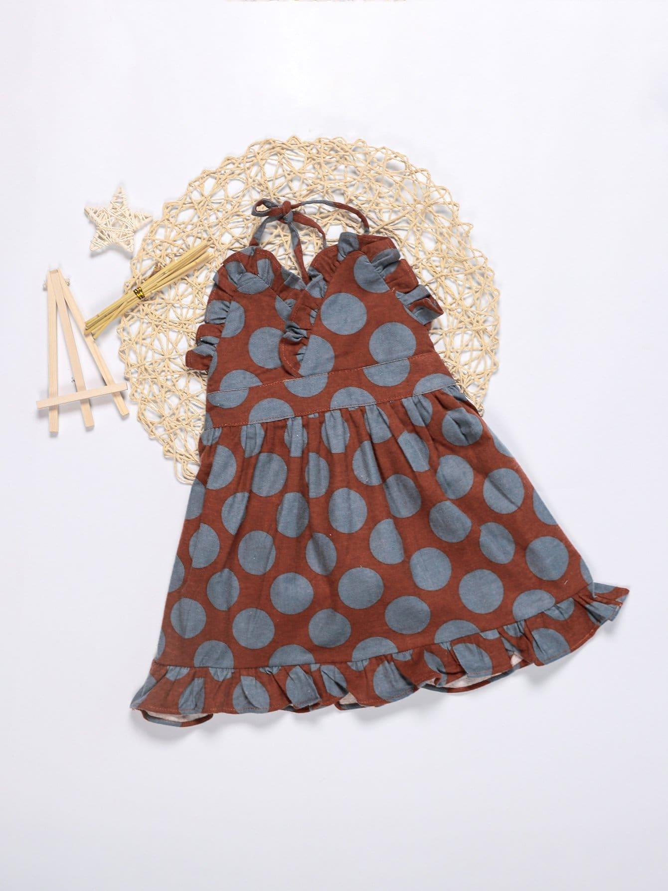 Купить Платье Halter и подол с розеткой для девочки, null, SheIn