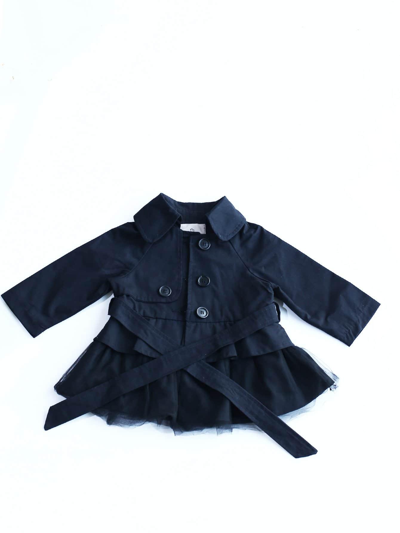 Девочки Отличие От Сетки Самостоятельная Галстук Пальто