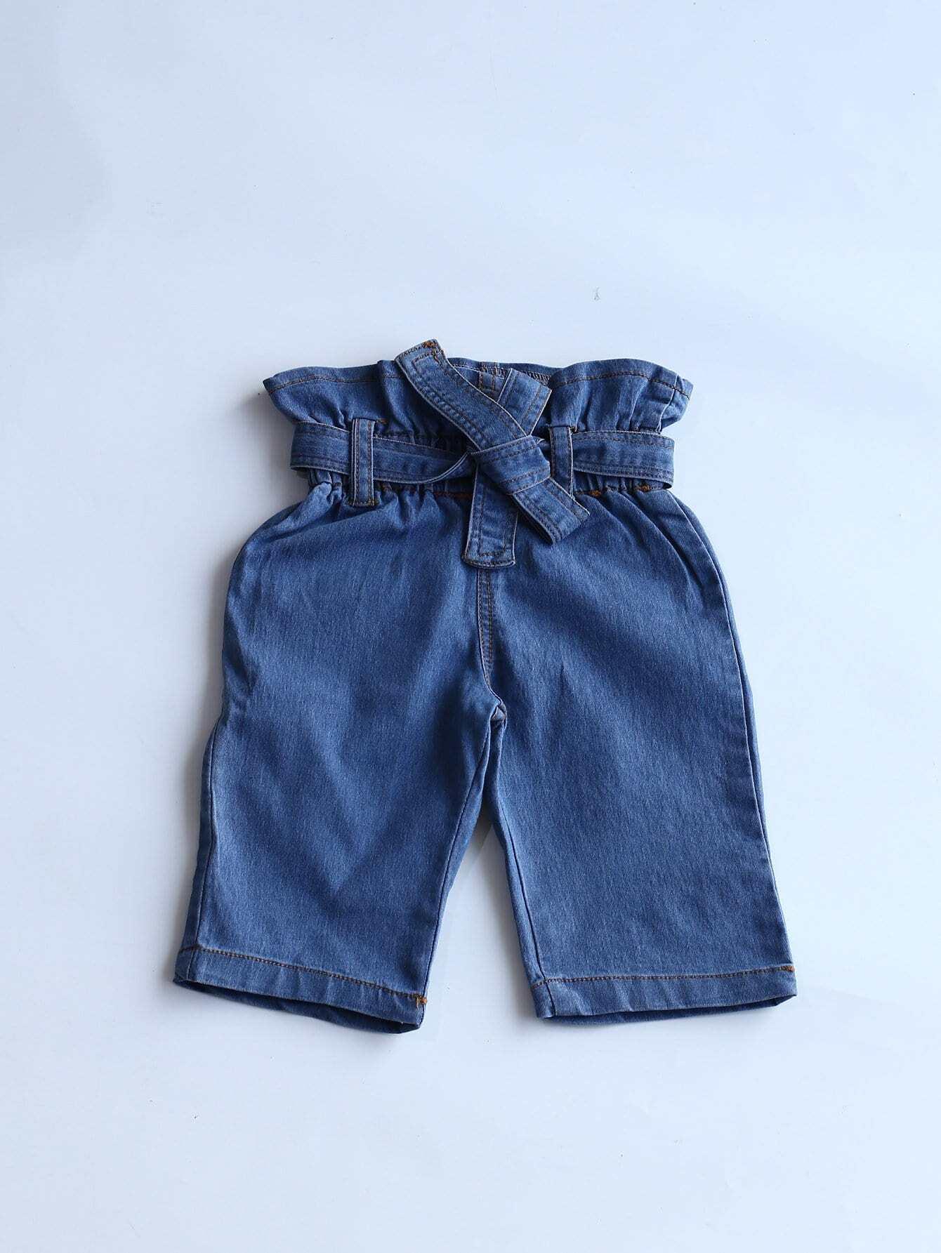Girls Pocket Detail Belted Jeans