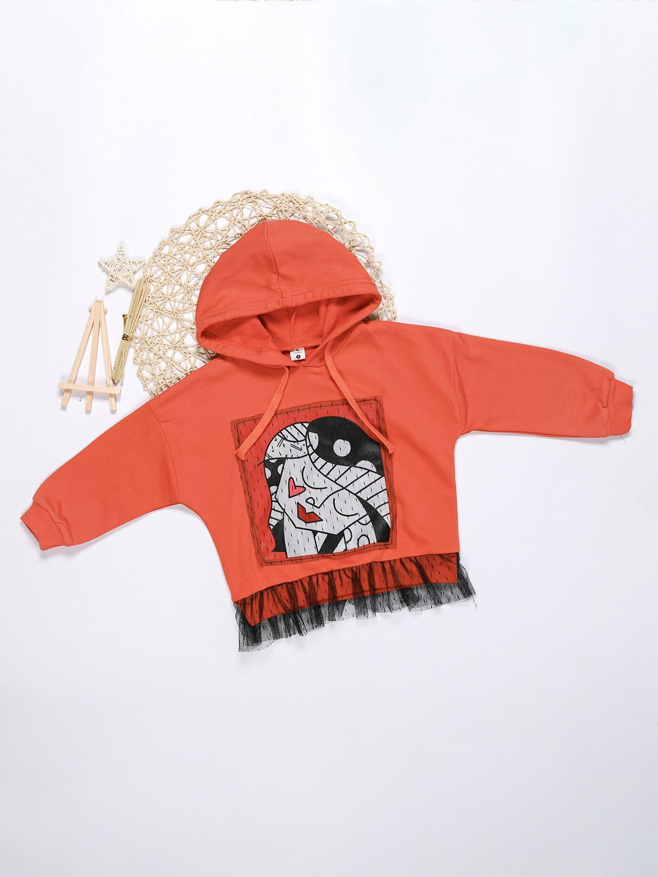 Girls Contrast Mesh Hooded Sweatshirt