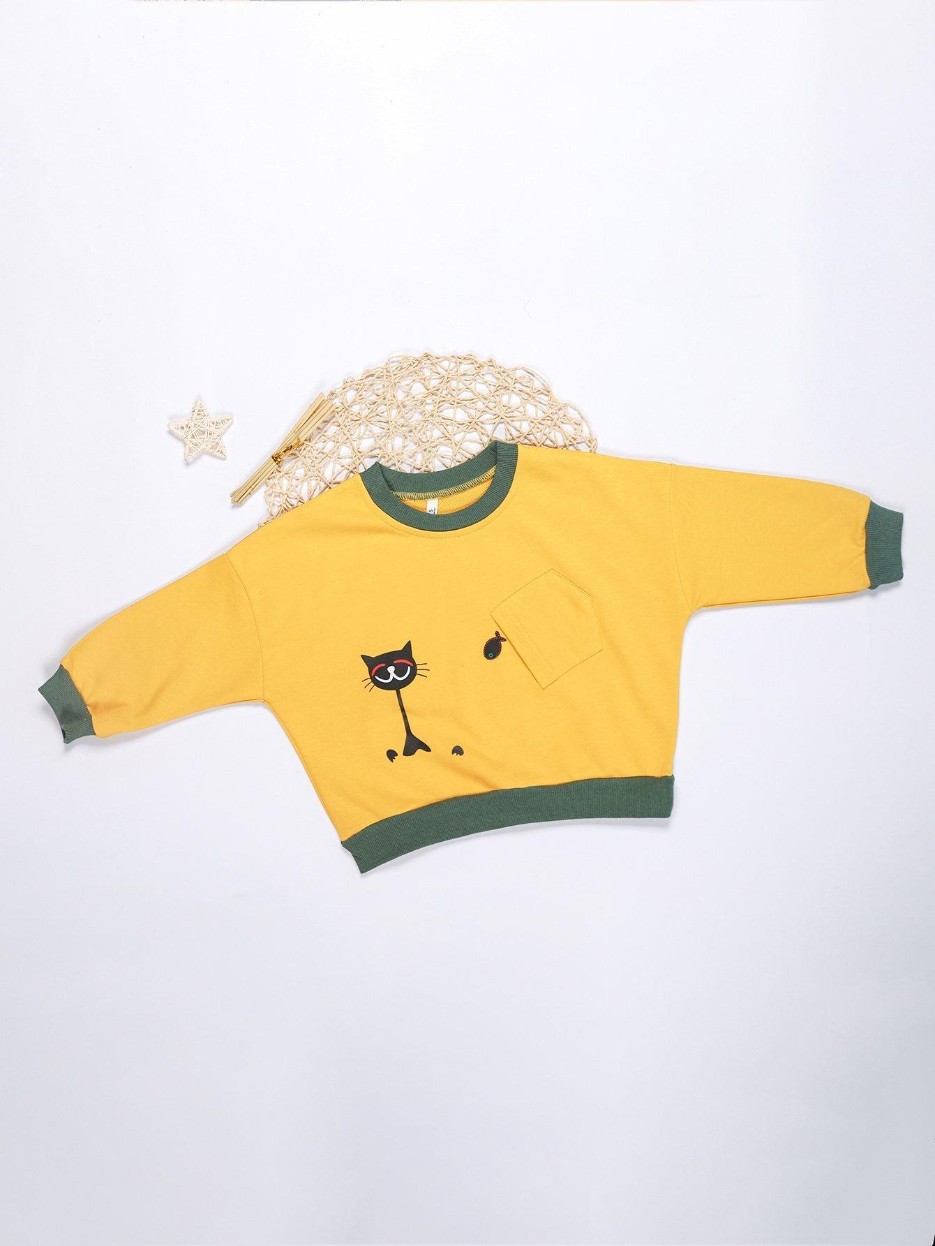 Girls Pocket Detail Cartoon Print Sweatshirt