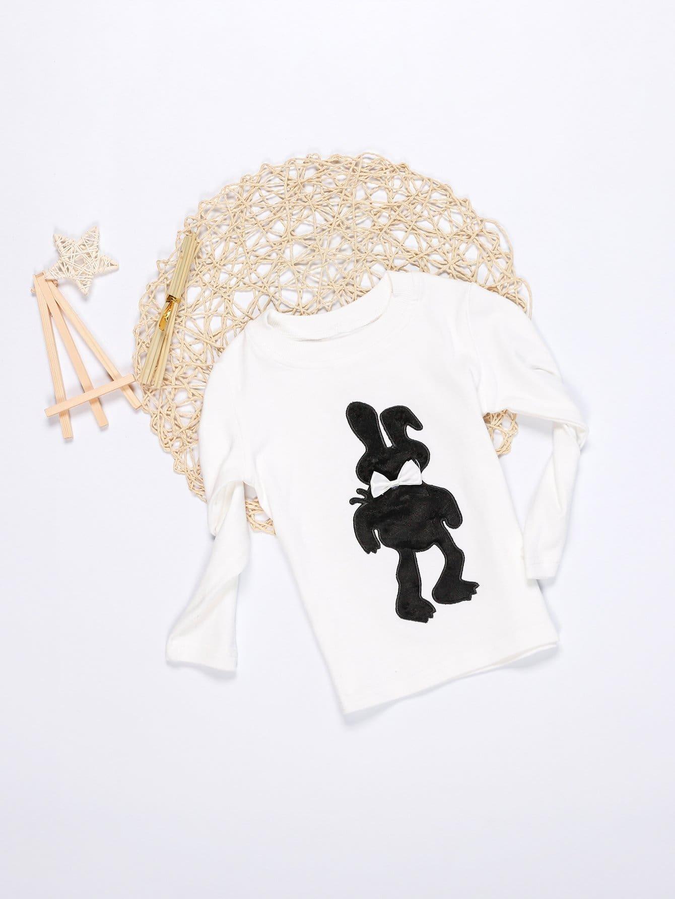 Купить Вышитая футболка с украшением бабочки для девочки, null, SheIn
