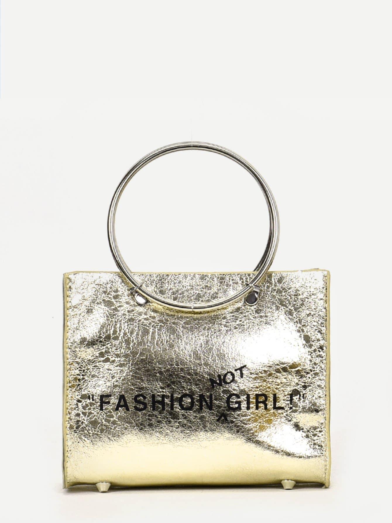 Slogan Print Chain Bag With Ring Handle