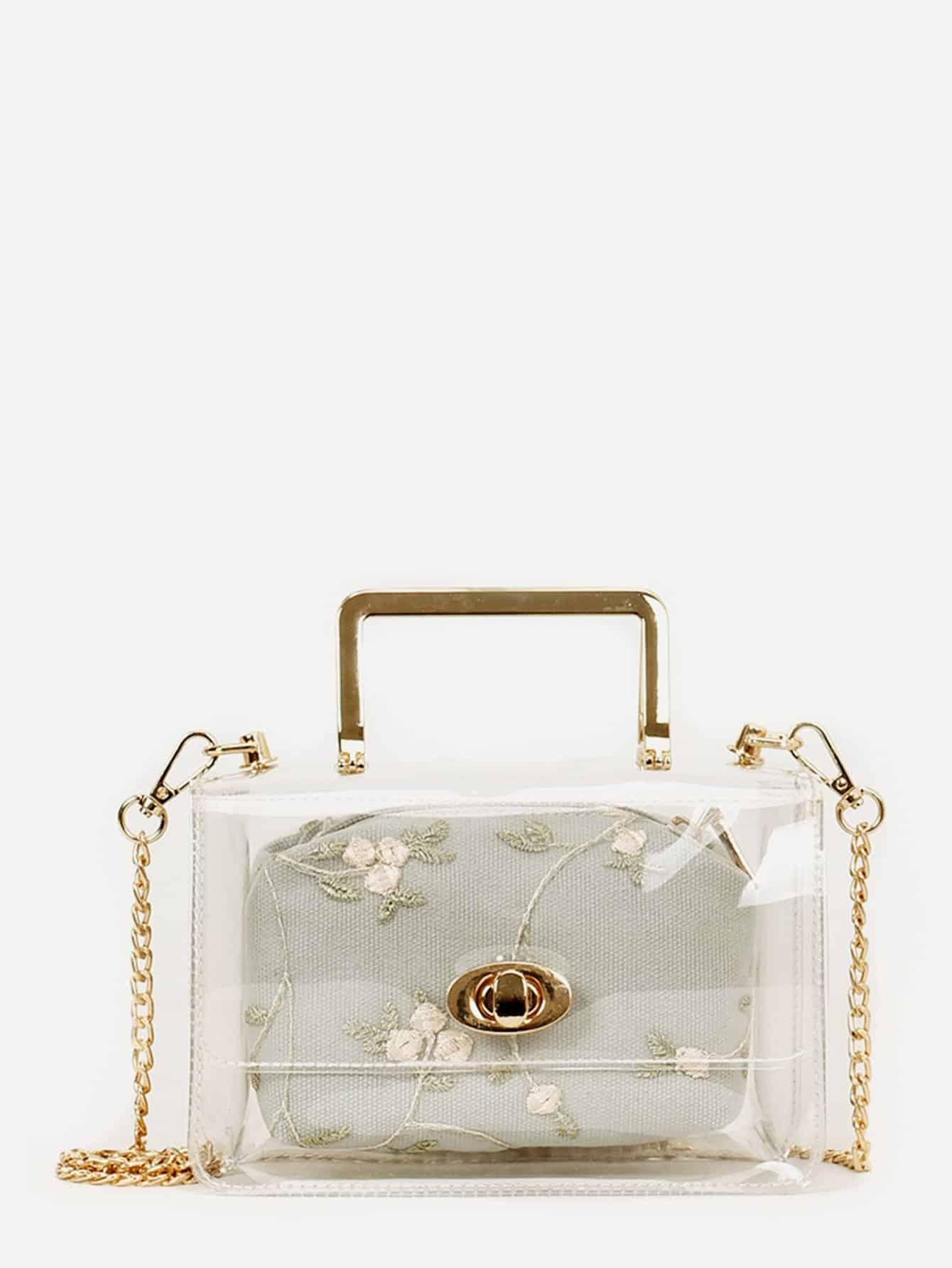 Купить Прозрачная цепная сумка с маленькой сумкой, null, SheIn
