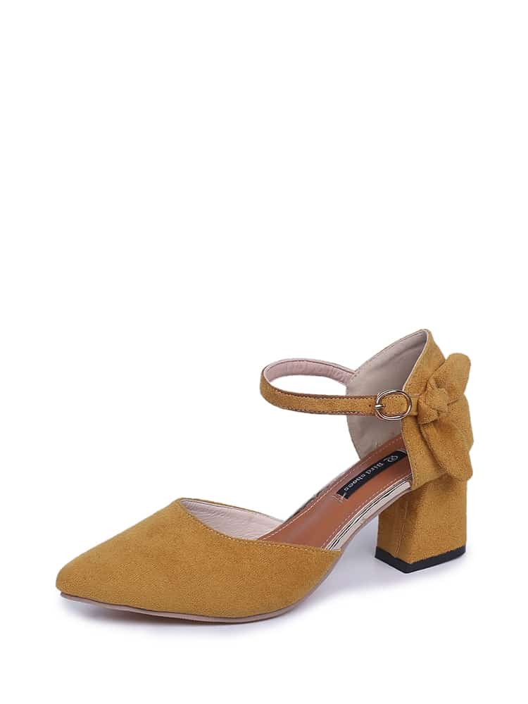 Ankle Strap Suede Chunky Heels