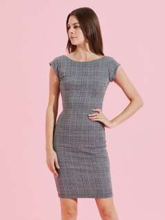 Glen Plaid Low Back Dress