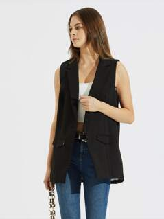 Notched Collar Open Front Shell Blazer