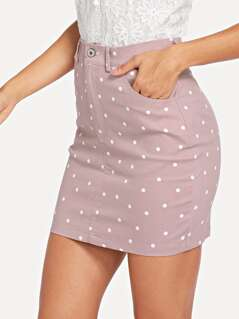 High Waist Pocket Patched Dot Skirt