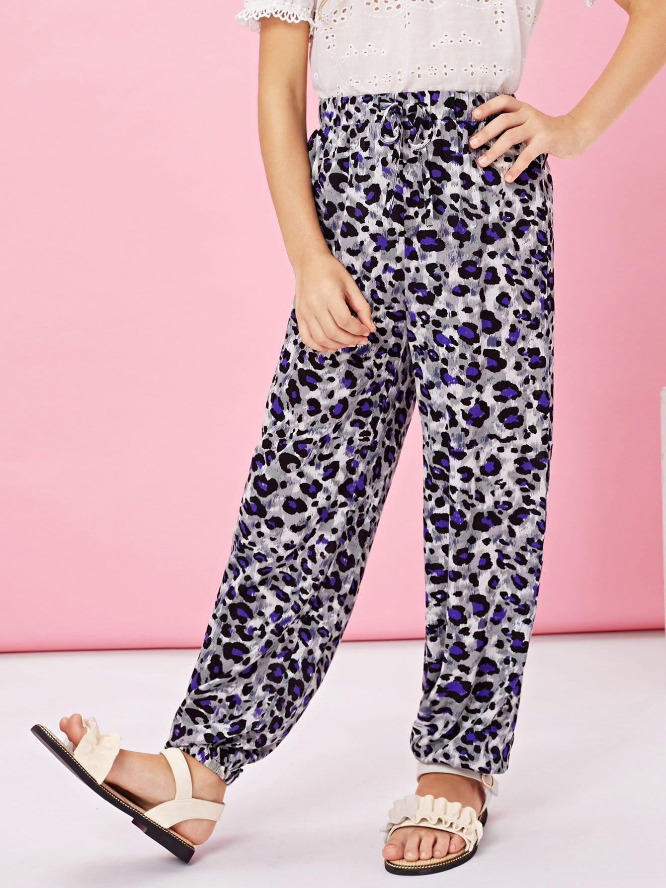 Купить Леопардовые брюки с басоном эластичным для девочки, Kassia, SheIn