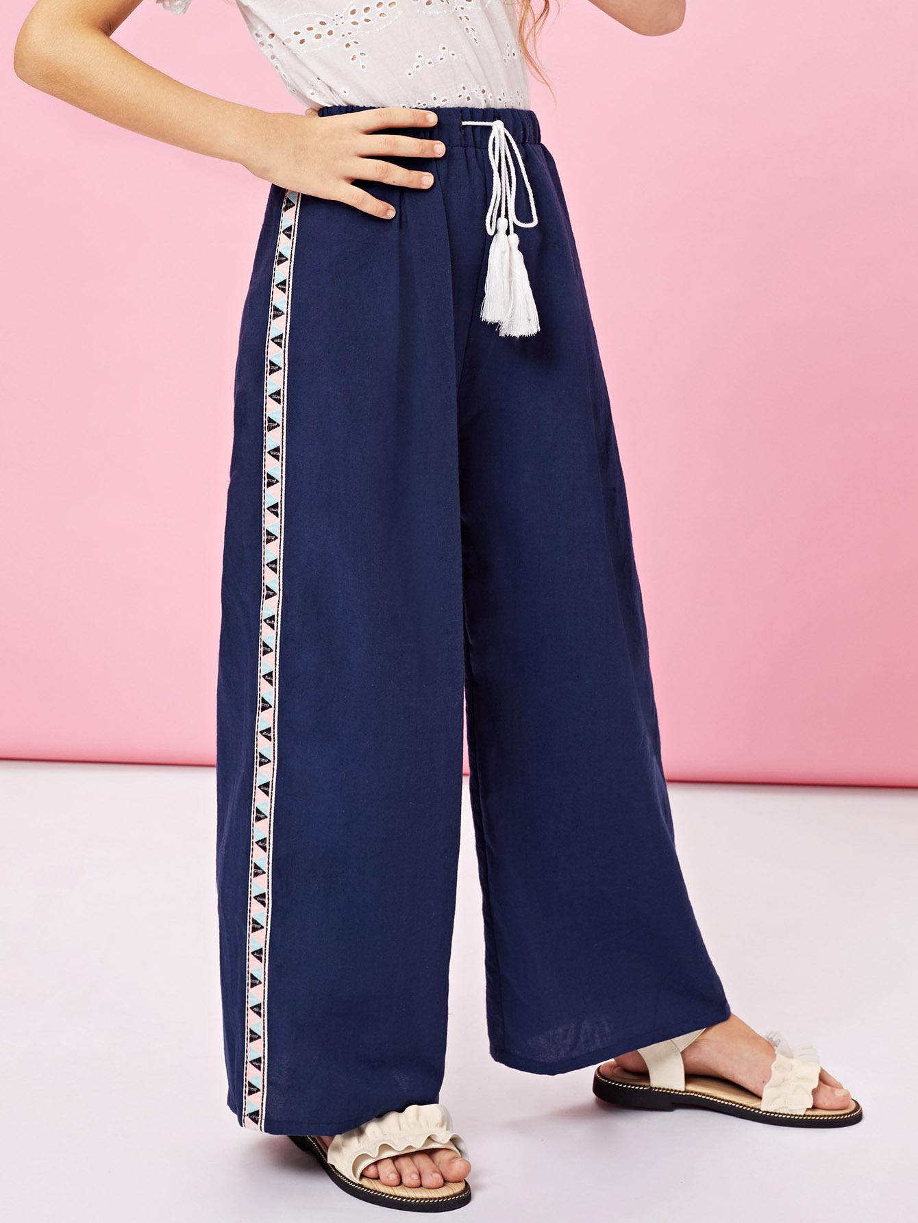 Девушки Drawstring с Tassel Detail Широкие брюки