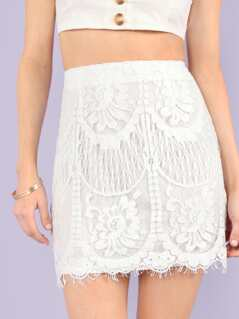 Slim Fitted Eyelash Lace Skirt