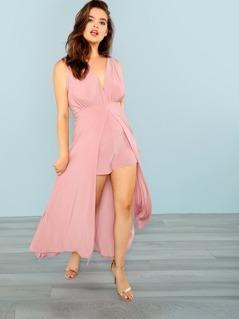 Sleeveless Romper With Half Skirt