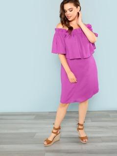 Off The Shoulder Ruffle Mini Dress