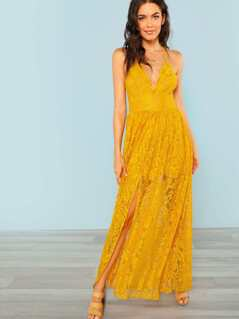 Lace Maxi Dress With Back Tie Detail