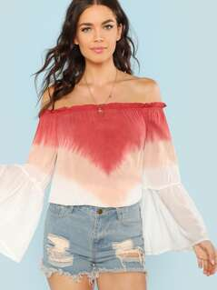 Ombre Off The Shoulder Blouse